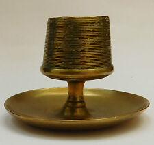 Antique brass match striker Vintage vesta holder Heavy metal egg cup shape