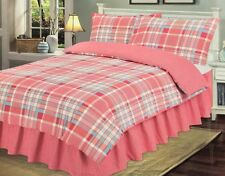 NEW Double size 'Check Red' Duvet Cover & Pillowcase Bed Bedding Set