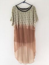 FREE PEOPLE Beaded Cotton Silk Chiffon Hi Low Top Size XS XSMALL Small S ombre