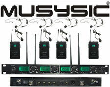 MUSYSIC 4 Channel UHF Lapel / Lavalier & Headset Wireless Microphone System UHF