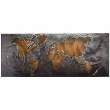 Modern World Map Wall Art Contemporary Metal Abstract Home/Office Travel Artwork