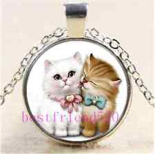 Kitten Cat Love Photo Cabochon Glass Tibet Silver Chain Pendant Necklace