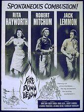 FIRE DOWN BELOW 1957 Rita Hayworth, Robert Mitchum, Jack Lemmon US PRESSBOOK