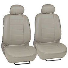 Synth Leather Car Seat Covers - Premium PU Leatherette Front Pair in Beige