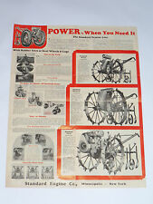 VINTAGE 1933 STANDARD ENGINE CO BROCHURE/POSTER! RUBBER TIRES OR STEEL WHEELS!
