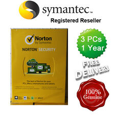 Norton ( Internet ) Security Anti virus All In ONE 3 PCs 1 Year Retail 2016 UK