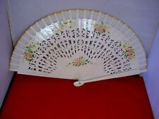 Vintage Handpainted Wooden Hand Fan Wood + Fabric White Floral LOVELY