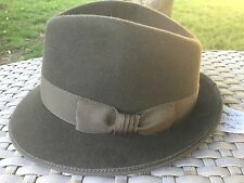 MAKINS NYC OLIVE GREEN 100% FUR FELT L TRILBY HAT 7 3/8 59cm Large USA MADE
