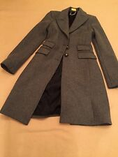CELYN B Elizabetta Franchi Made In Italy Fitted Wool Trench Coat 42 2 Grey