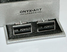 Mens Novelty Cufflinks - Mr Perfect , Rectangle Design *Boxed* Gift NEW