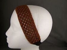 Copper Brown crochet knit wide soft stretch fabric headband hair band elastic