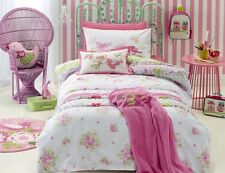 5 pc Jiggle Giggle Girls Shabby Chic Double Bed Quilt Cover Set & Cushions