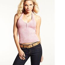 New Women's sz M GUESS Sleeveless Halter-top V-Neck Sweater PINK