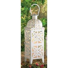 """large 25"""" tall WHITE Moroccan Candle holder Lantern Lamp outdoor patio garden"""