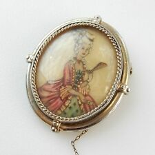 Early Hand Painted Classic Lady Portrait Brooch Pin with Safety Chain