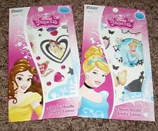 NEW lot 4 DISNEY PRINCESS metallic JEWELRY TATTOOS belle CINDERELLA party FAVOR
