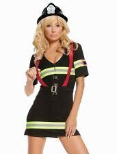 Sexy Firefighter Costume Large L Women Halloween Fire Chief Black Dress Hat