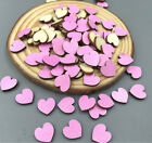 50PCS DIY mini pink heart-shaped Wooden Scrapbooking Charms Diameter 10mm