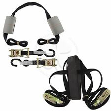 Black Motorcycle Handlebar & Tire Tie Down Straps Assembly Harness Transport Kit