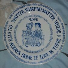 "Vintage White & Blue 9 1/4"" Collector's Plate It's Always Home if Love is There"