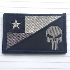 PUNISHER SKULL CHILE FLAG CHILE ARMY MILITARY TACTICAL 3D MORALE GRAY HOOK PATCH