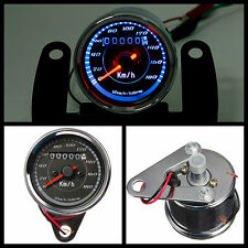 Motorcycle km/h LED Backlight Odometer + Speedometer Dual Gauge Meter Universal