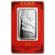 Beautiful 2012 PAMP Suisse 1 oz Silver Bars (Year of the Dragon)Sealed in Assay