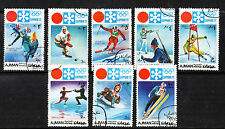 AJMAN 1972 WINTER OLYMPICS SET OF ALL 8 COMMEMORATIVE STAMPS CTO