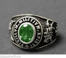 9x7 mm 925 Sterling Silver May Green Birthstone Knights Templar Men Ring Size 14