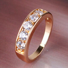 Engagement Ring,5 lab diamonds 18kt gold filled band size M
