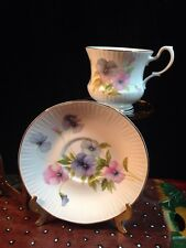 Royal Coach Staffordshire England Footed Tea Cup and Saucer Floral White Mint