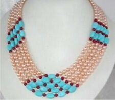 Gorgeous Jewelry Real Pink Pearl Turquoise Coral Necklace