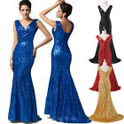 V NECK Sequins Mermaid Formal Evening Long Gown Party Prom Ball Bridesmaid Dress