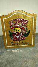 """New miniture """"Kings Head"""" pub & lodging wood dart board with all 6 darts"""
