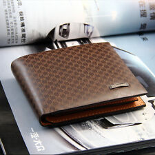 Luxury High Quality Mens Brown Leather Bifold Wallet Credit Card Holder Gift W1E