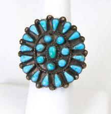 Vintage Zuni Large Face Turquoise Petit Point Sterling Silver Ring Sz 7.25
