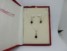 "Coldwater Creek Sterling Silver & Garnet 18"" Necklace pendant and Earring Set"