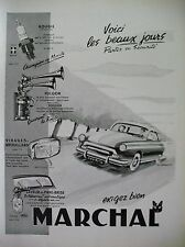 PUBLICITE DE PRESSE MARCHAL BOUGIE AVERTISSEUR PHARE AUTOMOBILE FRENCH AD 195