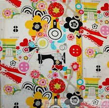 BonEful FABRIC FQ Cotton Quilt Rainbow B&W VTG Old Sewing Machine Dot Flower Dot