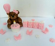 Birthday Teddy Bear Handmade Cake decoration topper Name Blocks