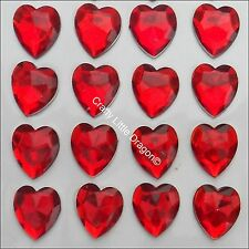 24 x 20mm RED HEART Rhinestone Diamante Stick On Self Adhesive GEMS Diamonte