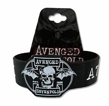 AVENGED SEVENFOLD DIE-CUT SKULL BAT BLK SILICONE WRISTBAND NEW OFFICIAL A7X