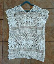 T9 - Crochet Top / Beach Cover Sweater Summer Top Ivory Fits L to 2X