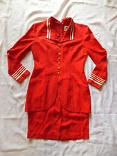 Womens Vintage Dani Max Dress ~ Sz 4 ~ Knee ~ Modest ~ Rayon ~ Red ~Sailor Style