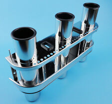 US Stock Fishing Outrigger 3 Tube Stainless Steel Rod Holder Tackle Rack Useful