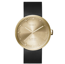 NEW LEFF AMSTERDAM TUBE WATCH D42 WITH BLACK LEATHER STRAP ANALOG DISPLAY BRASS