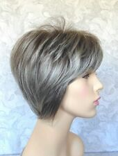 HIVISION Short Layered Grey Brown tipped Silver Full Synthetic Wig Wigs - #3791