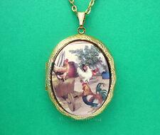 Porcelain ROOSTER & 3 HENS Chicken CAMEO Locket Pendant Necklace Valentine Gift