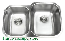 "32"" 18 Gauge Undermount Double Bowl 40/60 Stainless Steel Kitchen Sink"