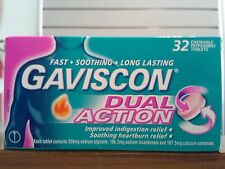 = PRICE SMASH GAVISCON DUAL ACTION 32 CHEWABLE PEPPERMINT TABLETS, FOR HEARTBURN